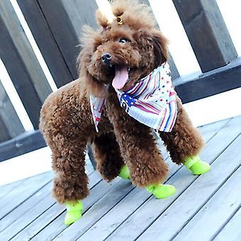 ラブリーペットドッグシューズ 子犬 キャンディ カラー ラバー ブーツ 防水 レインシューズ、S、サイズ: 4.3 x 3.3cm (黄色)