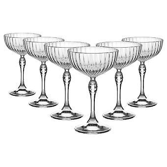Bormioli Rocco 6 Stück Amerika '20er Jahre Champagner Untertassen Set - Vintage Art Deco Coupe Gläser für Wein, Espresso Martini - 230ml