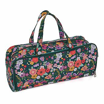 Hobby Gift Knitting Bag with Pin Case: Floral Garden: Teal