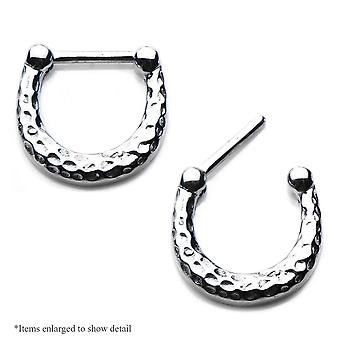 316L surgical steel septum or cartilage clicker w/ hand hammered oxidized finish