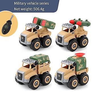 4pcs Construction Vehicle Assembly Screw Toys Car
