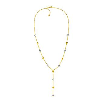 14k Two Tone Gold Necklace with Polished Cubes