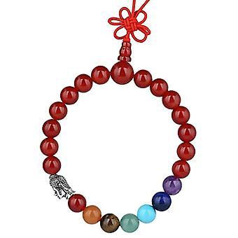 KYEYGWO 21 Mala Bracelet with Crystal Beads Chakra, unisex, Reiki Stretch and League, color: corniola (7 chakra with head of Ref. 0715444069123
