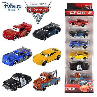 6PCS/Set Disney Pixar Carros 3 Brinquedo 1:55 Diecast Veículo Dente DeNte-de-Liga Desaúlda Carros Relâmpago McQueen Carro Modelo