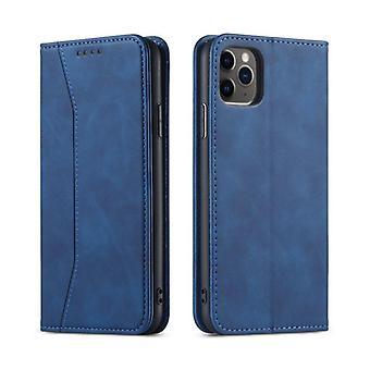 الوجه ورقة حقيبة جلدية لفون 12 مصغرة الأزرق pns-4606