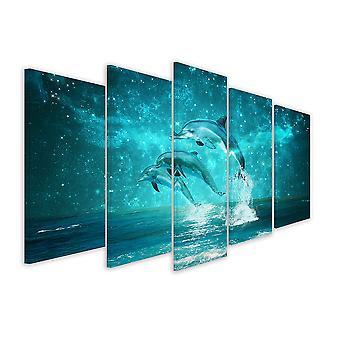 Tableau 5 parties deco dauphins astro - 150x80 cm