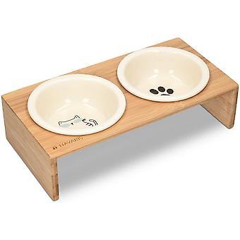 Futternapf Katze mit Bambus Halter - Futterstation Set Keramiknapf für Katzen Hunde - Keramik
