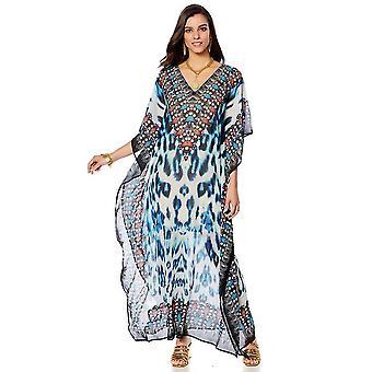 דפוס נמר מודפס נשים Kaftan בגדי ים V צוואר Suncreen ביקיני לכסות