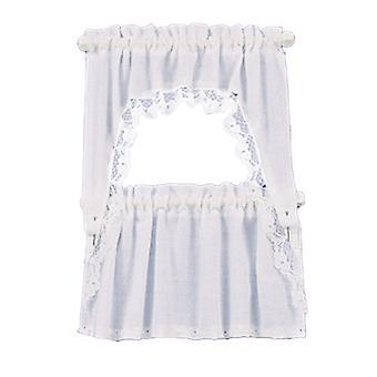 Dolls House White Curtain & Valance Set On Rails Miniature Window Accessory