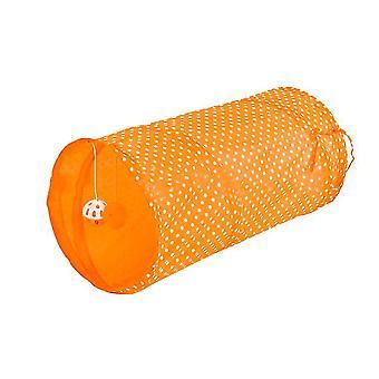 Turuncu kedi tüneli oyuncak katlanır polyester bez haddeleme totoro çadır kedi kaynakları x5018