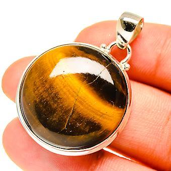 "Tiger Eye Pendant 1 1/2"" (925 Sterling Silver)  - Handmade Boho Vintage Jewelry PD760582"