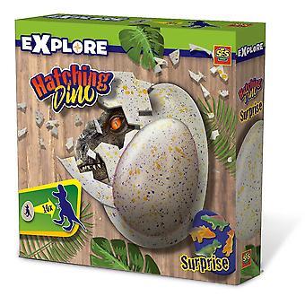 SES Creative - Barnas Utforsk Hatching Dino Egg (Flerfarget)