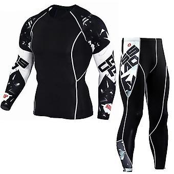 Herren Ski Strumpfhosen Long-Top-Sport-Shirt, Männer lange Set
