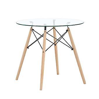 Glazen tafel rond 80 cm – Houten poten – Salontafel