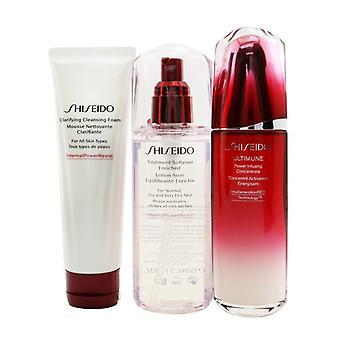 Shiseido Ultimune להגן על סט טיפול יומי: רכז חליטת כוח אולטימוני 100ml + הבהרת קצף ניקוי 125ml + מרכך טיפול מועשר 150ml 3pcs