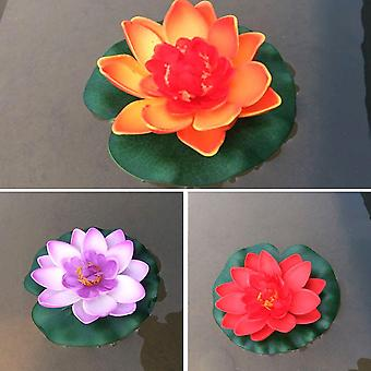 3pcs Floating Artificial Flower Lifelike Water Lily Micro Landscape