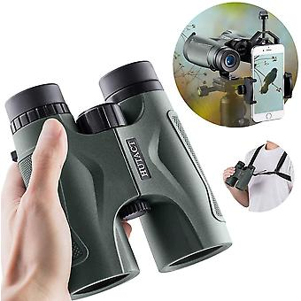HUTACT Binoculars 10x42 Dark Green, Suitable for Bird Watching, Camping and Travel, Free Tripod Connector, Dual Strap and Phone Clip,(Army green)