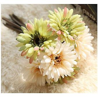 Konstgjord Daisy Flower Bride och Bridesmaid Bouquet 7 grenar Daisy Flower Diy Decoration Champagne Grön