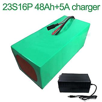 Battery With Charger 5a 48ah 84v Li-ion 18650 Rechargeable Electric Two Three-wheeled Motorcycle Bike Ebike Accept Customization 23s16p 390 * 220 * 14