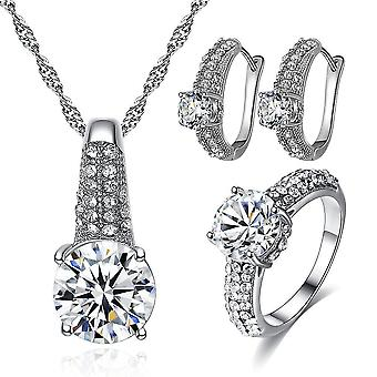 Wedding Jewelry Necklace Earrings Ring Set(Silver)