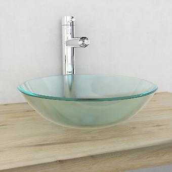 vidaXL umywalka szkło hartowane 42 cm Matowe