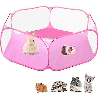 Small Animals Cage Tent, Breathable & Transparent Pet Exercise Fence(Pink)