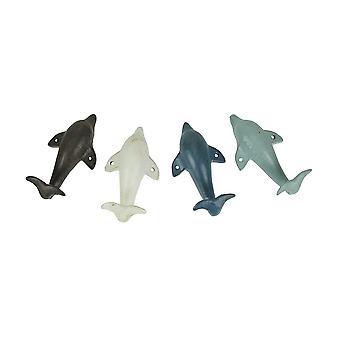 4 Stück Distressed Finish Cast Iron Dolphin Wand Haken Set Küstenfarben