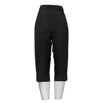 Isaac Mizrahi En direct! Pantalon pour femme Pédale Pusher Pintucks Noir A377474