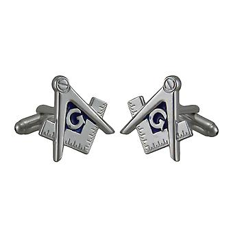 Masonic Compass and Square Polished Silver Finish Cufflinks