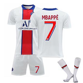 Mbappe #7 Jersey 2021-2022 New Season Paris Soccer T-Shirts Jersey Set för barnungdomar
