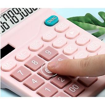 Calculatrice solaire à 12 chiffres Grands boutons Outil de comptabilité d'entreprise financière pour les étudiants (rose)