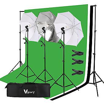 1 Set Vamery 220v 45w Photo Photography Umbrella Lighting Kit Studio Light Bulb Non-woven Fabric Backdrop Stand(uk Order Only)