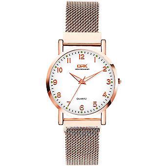Einfache Mesh Strap Uhr wasserdicht leuchtende Damen Quarzuhr