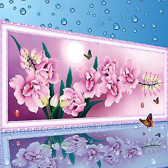 Peinture de diamant 3d Trois dimensions 5d Pringting Cross Stitch Butterfly Orchidée Salon Magic Cube Diamant Rond Diamant