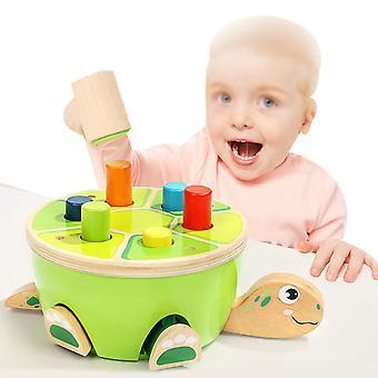 細かい運動能力就学前の木製のおもちゃハンマーを学ぶ幼児のためのモンテッソーリおもちゃ