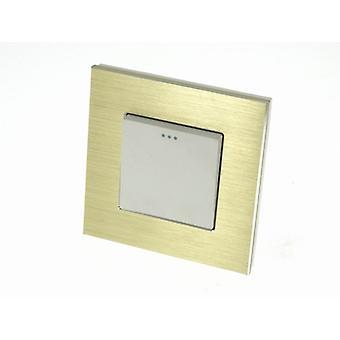 I LumoS Luxury Gold Brushed Aluminium Frame 1 Gang 2 Way Rocker Wall Light Switches