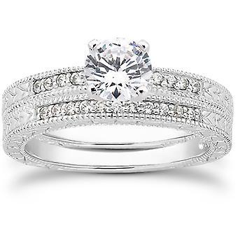 1 / 2ct handgravierte Vintage Diamant Ring Set 14K White Gold
