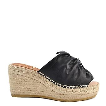 Kanna Capri Black Leather Wedge Espadrille Sandal
