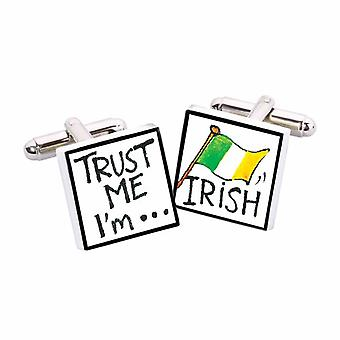 Trust Me, I'm Irish Cufflinks by Sonia Spencer, in Presentation Gift Box. Ireland, Eire