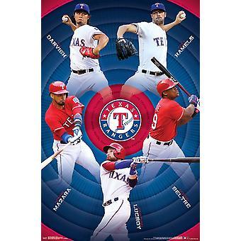 Texas Rangers - impresión del cartel de equipo