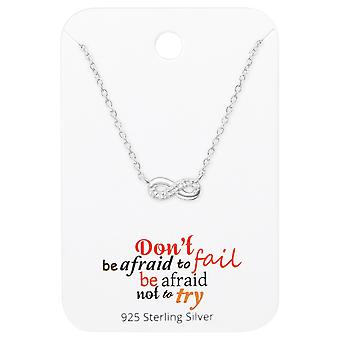 Collier infini sur motivation cite carte - jeux d'argent Sterling 925 - W36089x