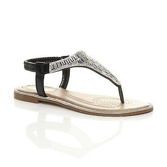 Ajvani womens flat diamante t-bar toe post sparkly party slingback sandals