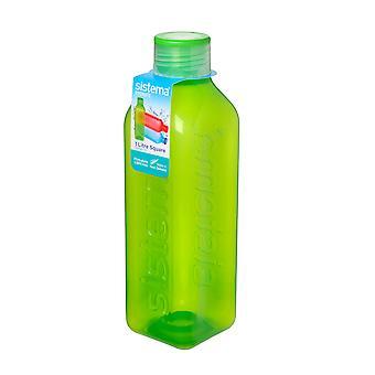 Sistema-Hydrat 1L quadratische Trinkflasche, limegreen