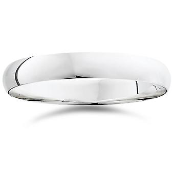 High Polished Dome Wedding Band 14K White Gold