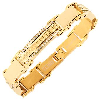 Iced Out Edelstahl Micro Pave CZ Armband - 11mm gold