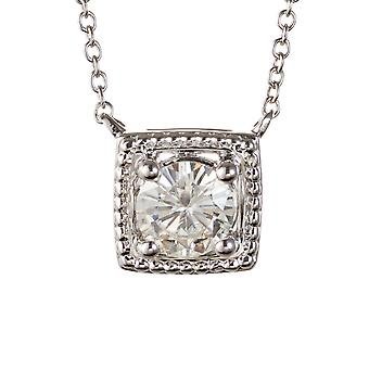 Forever Classic Round 6.0mm Moissanite Solitaire Square Shaped Necklace, 0.80ct DEW