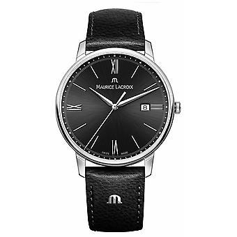 Maurice Lacroix Men's Eliros Black Leather Strap Black Dial EL1118-SS001-310-1 Watch