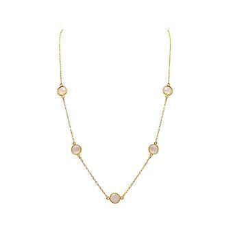 Gemshine kvinners halskjede 925 Sterling sølv belagt Rose kvarts 55 cm