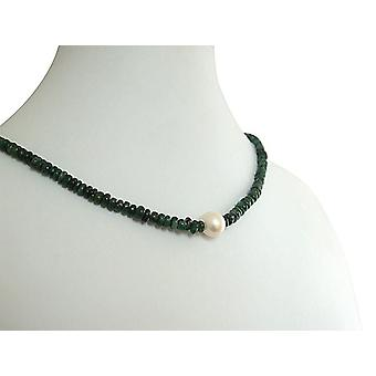 Jewel chain green Emerald and 9 mm Pearl Necklace gold plated clasp