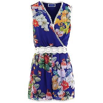 Ladies Sleeveless Wrap V Neck Floral Crochet Lace Chiffon Lined Playsuit Romper